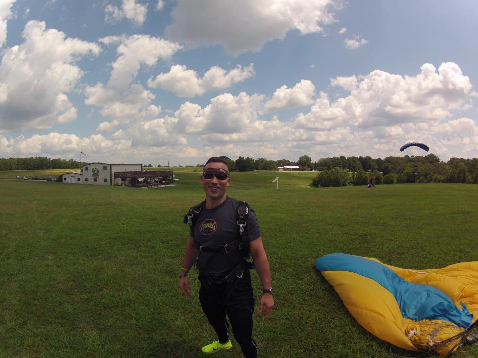Skydiving post-jump